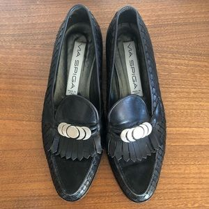 VINTAGE 80s Via Spiga Moon Phase Leather Loafers
